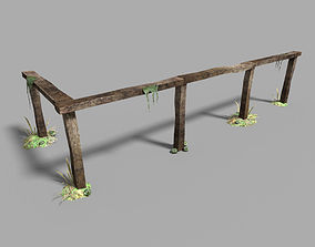 low poly medieval fence 3D asset