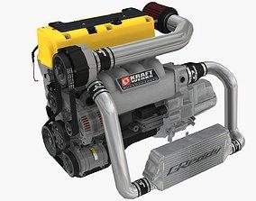 Honda K24A Kraftwerks supercharged engine 3D asset