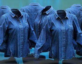 Blue Jeans Shirt Chest Pocket 3D model