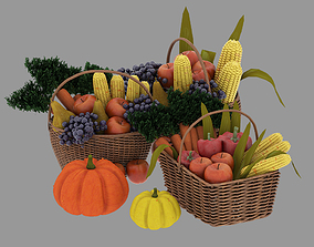 fruit and vegetable baskets 3D model
