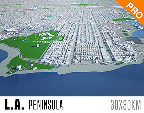 3D asset Los Angeles City Peninsula Long Beach Terminal 1