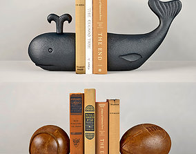 Whale and Vintage leather sports ball bookends RH 3D model
