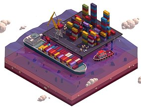 3D asset Cartoon Low Poly Lowpoly Seaport