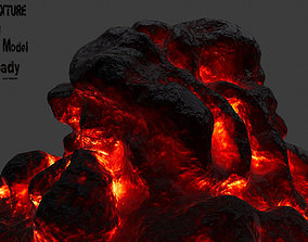 Lava Rock 3D asset game-ready