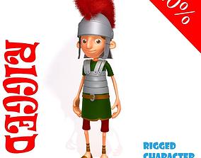 3D model Roman Soldier Cartoon Rigged cartoon