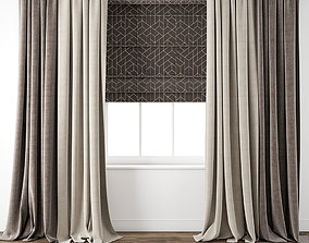 Curtain 75 with window tulle 3D model