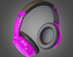3D asset Headphone Purple Lowpoly Pbr Subdivision Ready