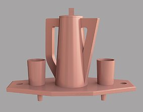 Tray with jug and glasses 3D printable model