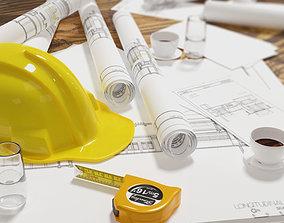 3D model artchitectural scene includes contruction 2