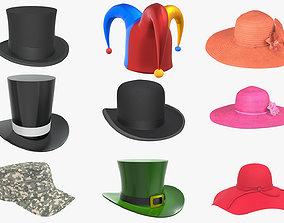 3D model Hat set bowler men women floppy summer jester 1