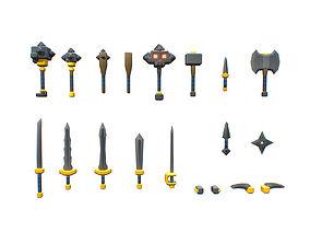 Basic Weapon Set - Smashy Craft Series 3D asset