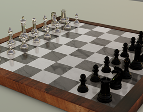 3D model Glass And Marble Chess Set