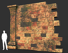 Low poly Mossy Brick Ruin Asia Temple 09 3D model