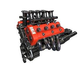 V8 engine 3D model PBR