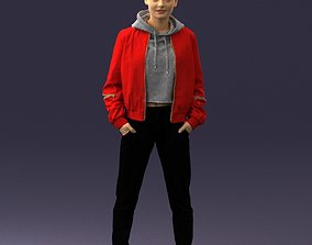3D Teenage girl in a red jacket 0273