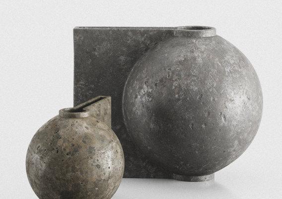 Offset Big And Mini Dark Gray Vases by 101 Copenhagen 3d model