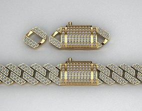Cuban link bracelet with lock 3D print model