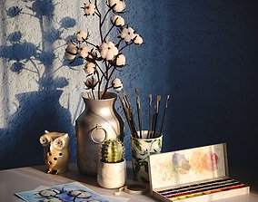 Watercolor decorative set 3D
