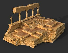 3D model Low poly Ancient Roman Ruin Construction 08 -