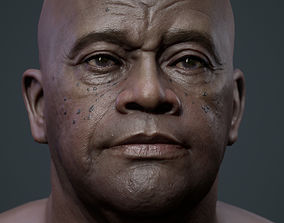 3D model low-poly Realistic black male real-time head