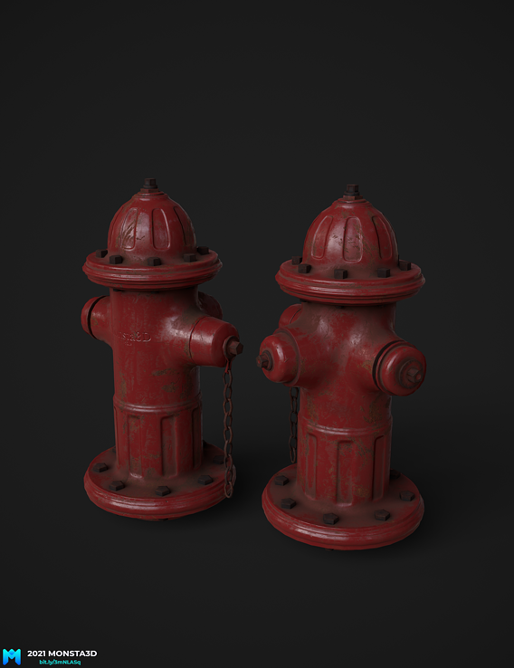 a pbr lowpoly fire hydrant for games