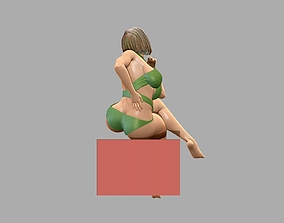Young Beautiful Girl Sitting 3D model dress