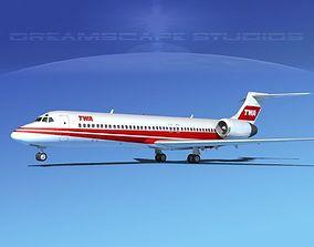 3D model Boeing 717-200 TWA 2