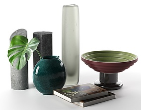 3D Monstera Decorative Objects and Books