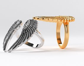 3D printable model womanly wings ring gold or oxidized