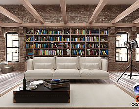 Living Room Loft C4D Corona Render 3D model