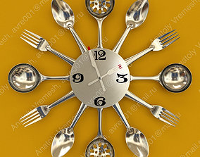 3D model ladle Wall clock for the kitchen