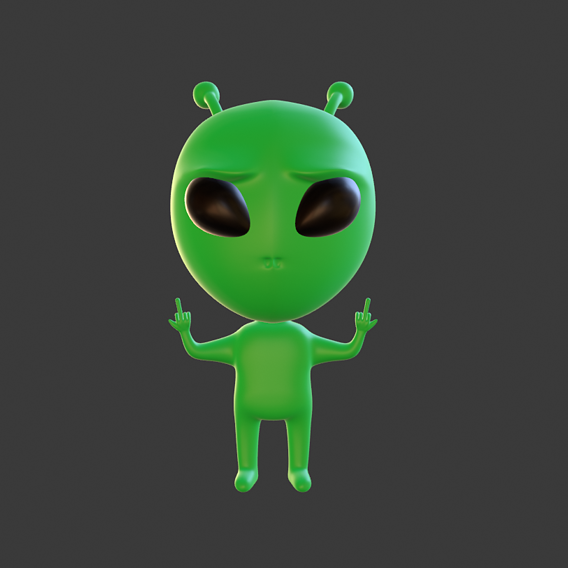 alien middle finger
