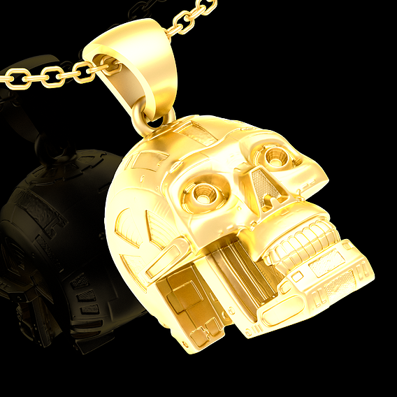 Robot Skull pendant jewelry gold 3D print model