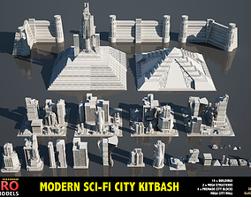 MODERN SCI-FI BUILDINGS KITBASH 3D model