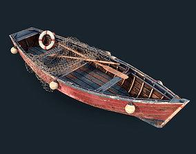 3D model coast Old fishing boat