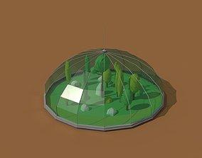 Low Poly Scifi Greenhouse 3D asset