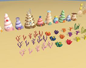3D model Cartoon Sea village
