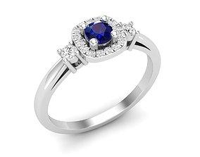 cushion shape halo Diamond Ring for woman 3D print model