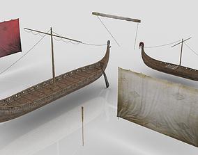 Viking Drakkars 3D asset