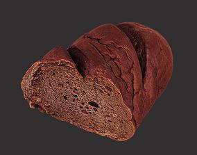 Brown Loaf of Bread Cut 3D model