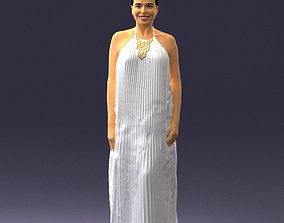 Girl with braid long dress 0456 3D print ready