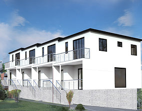 3D Modern townhouse with drawnings