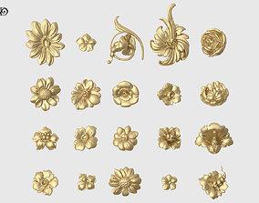 3D printable model Decorative Flowers Set