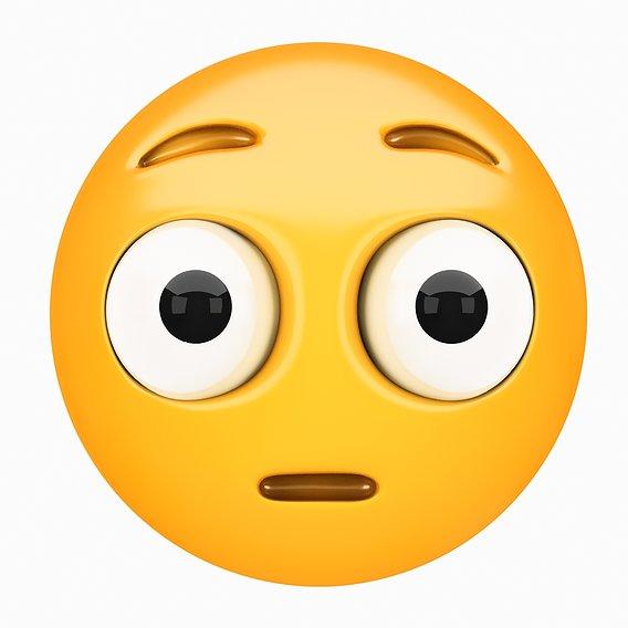 Emoji Flushed Face 3D model