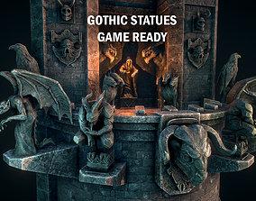 3D asset Gothic statues