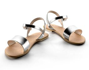 Flight Wide Fit Leather Sandals 3D model