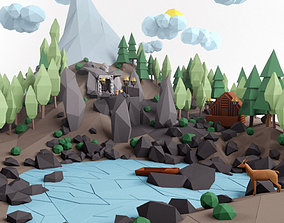 Low poly lanscape mountain hill tree lake and 3D asset 1