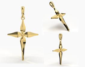 JESUS CROSS GOLD PENDANT 3D print model daily-wear