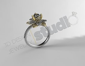 Tiffanys Gatsby flower ring with stones 3D print model 1