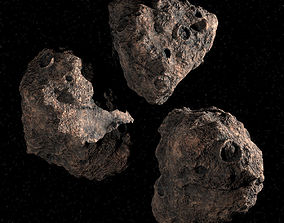 Three Asteroids 3D PBR